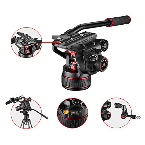 Manfrotto MVH608AH - Nitrotech Fluid Video Ball Joint for DSLR, Mirrorless, Video and Film, 0-8 kg Continuous Counterbalance and Continuous Variable Fluid Power System, 8 kg load capacity