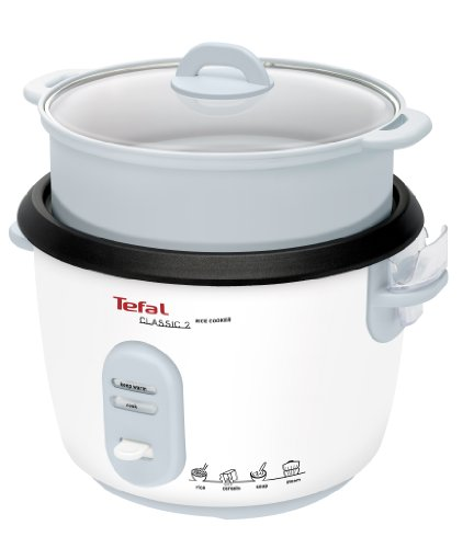 Tefal Classic 2 RK1011 Rice cooker with steamer accessories, 700 W, 1.8 Litres, Non-Stick coating/Glass, White