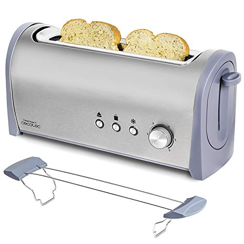 Cecotec Steel&Toast 1L. 6 Power Levels, Capacity for 2 Toasts, 3 Functions (Roasting, Reheating, Defrosting), Includes Roll Stand, with Crumb Tray, 1000 W
