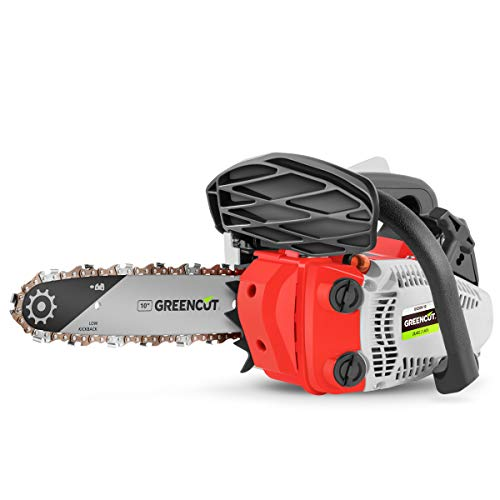 GREENCUT GS250X-10 - 25,4cc and 1,4cv Petrol Chainsaw with 10'' Easy-Start Blade, Anti-Vibration System, Includes Blade Protector and KIT