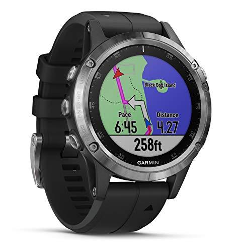 Garmin Fenix 5 Plus - Multi-Sport GPS Watch, Silver with Black Strap