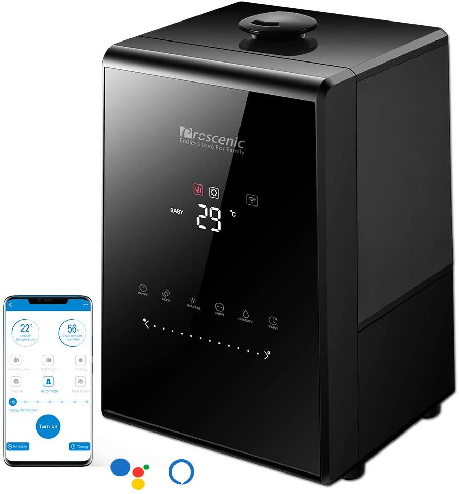 proscenic 808C 5.3L Ultrasonic Smart Humidifier with Application Compatibility,Alexa and Google Assistant, Adjustable Levels, Baby Mode, Auto-Off and Touch Panel, Night Light