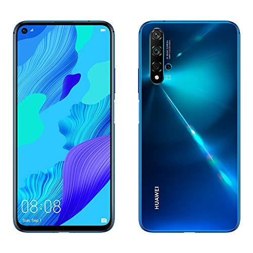 "Huawei Nova 5T, Smartphone (6GB RAM, 128GB Internal Memory, 5 AI Cameras, FullView Display, Side Footprint Sensor, 3750 mAh) Dual-SIM, Infrared USB, Android, 6.26""Blue"