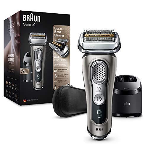 Braun Series 9 9385cc Next Generation Man Electric Shaver, Beard Shaver with Clean&amp Charging Station;Charge, Case, Colour Graphite