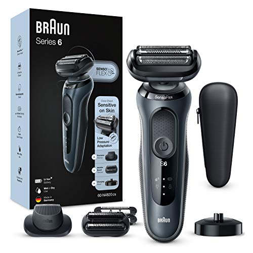 Braun Series 6 60-N4820cs Electric Shaver, Man Blade Shaver, Charging Stand, 2 Accessories, EasyClick, Wet & Dry, Rechargeable, Wireless, Grey