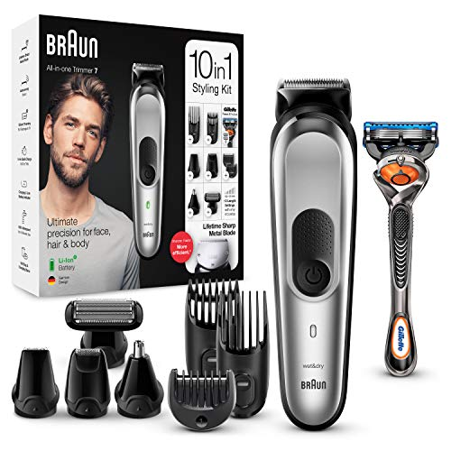 Braun Trimmer MGK7220 10 in 1, Beard trimming machine, body hair removal and trimming set for men, silver grey