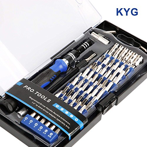 KYG Professional Screwdriver Set with 56 Bits Magnetic Repair Tool Kit for Xbox Smartphone Laptops Camera Watch Glasses