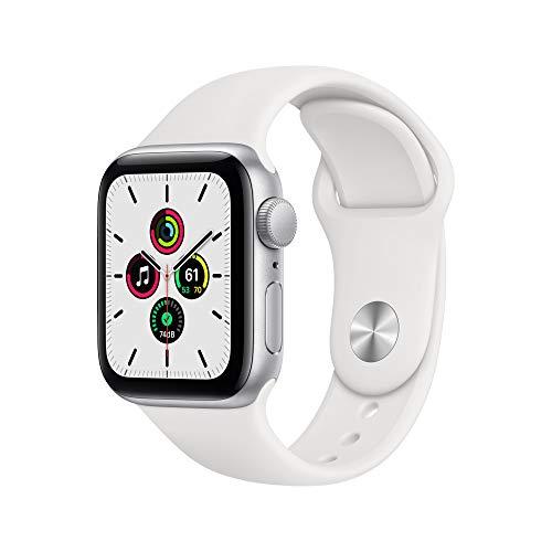 New Apple Watch SE (GPS, 40 mm) Silver Aluminium Case - White Sport Strap