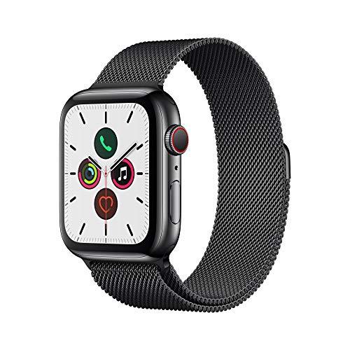 Apple Watch Series 5 (GPS + Cellular, 44 mm) Stainless Steel in Space Black with Milanese Space Black Loop