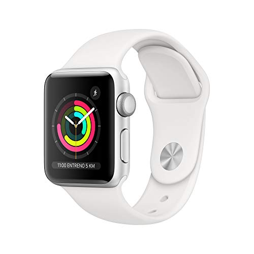 Apple Watch Series 3 (GPS) with 38 mm silver aluminum case and sports strap, White