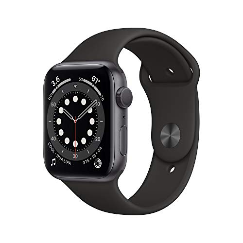 New Apple Watch Series 6 (GPS, 44 mm) Aluminum Case in Space Gray - Black Sports Strap