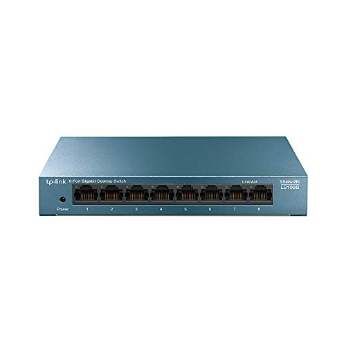 TP-Link LS108G - 8 Port Switch (10/100/1000) Ethernet Switch, Gigabit Switch, Metal Housing, Ultra Lightweight with Super Heat Dissipation, Energy Saving, Silent, No Configuration