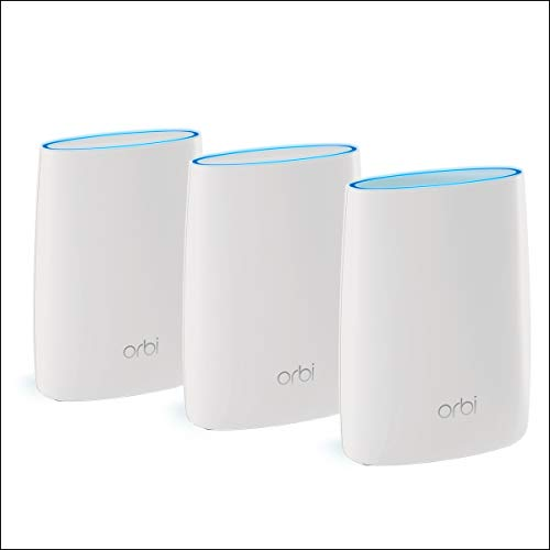 Netgear Orbi RBK53S - Powerful Mesh Wi-Fi TriBand AC3000 System with Antivirus, Coverage up to 525 m², Kit of 3 with 1 Router and 2 satellites, White