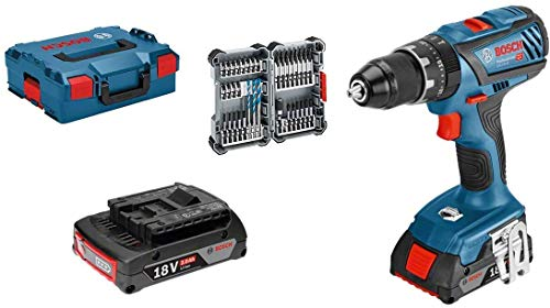 Bosch Professional 18V System Battery-powered hammer drill GSB 18V-28 (max. torque: 63 Nm, incl. 35 pcs. Impact accessory set, 2x 2.0 Ah battery, in L-BOXX 136) - Amazon Edition