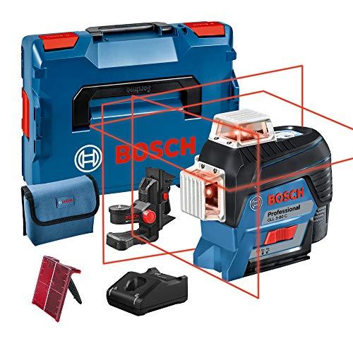 Bosch Professional 0601063R02 Level (1 battery x 2.0 Ah, 12V, Range 30/120 m, Red Laser, Bluetooth Connection, in L-BOXX), 12 V, Blue, Single, Set of 3