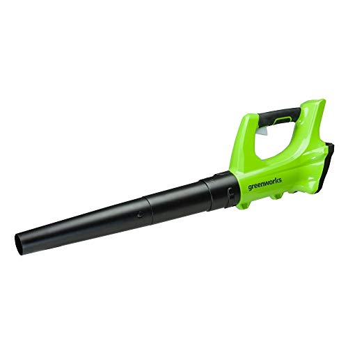 Greenworks G24AB battery leaf blower (24V Li-Ion 160 km/h air speed 330 CFM with electronic speed control, air flow, padded handle without battery and charger)