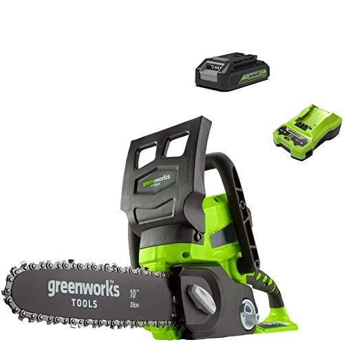 Greenworks Battery Chainsaw G24CS25K2 (Li-Ion 24V 4 m/s chain speed 25cm sword length 50ml oil tank volume including 2Ah battery and charger)