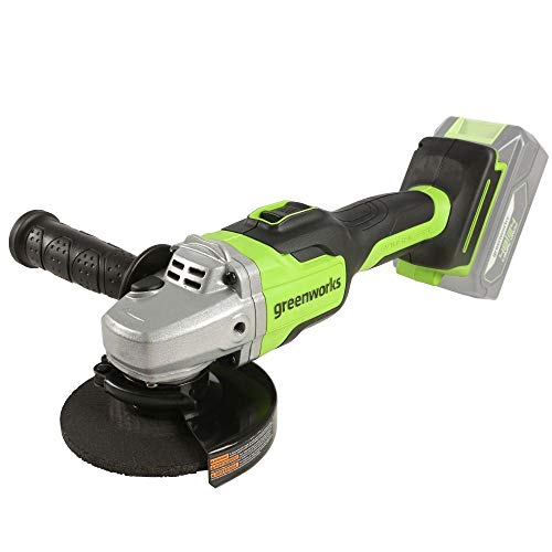 Greenworks Cordless Angle Grinder GD24SAG (24V Li-Ion 10,500 rpm 125 mm blade diameter 28 mm depth of cut powerful brushless motor without battery or charger)