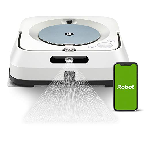 iRobot Braava jet m6134 Connected Floor Scrubber, Pressure Sprayer and Advanced Navigation, Dry Mop and Scrub, Large Areas, Refill and Resume Work, App Programmable