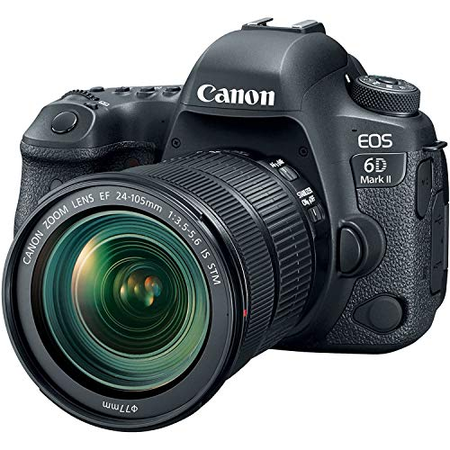 Canon EOS 6D MK II - 26.2 MP SLR digital camera (3.0 '' touchscreen, Wifi, Bluetooth, Dual Pixel CMOS AF, 4K time-lapse videos) black - body kit with EF 24-105 IS STM lens