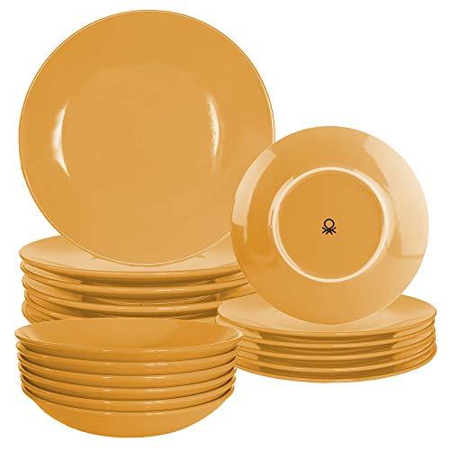 UNITED COLORS OF BENETTON.  BE072 Set 18pcs orange earthenware tableware Casa Benetton, Stoneware