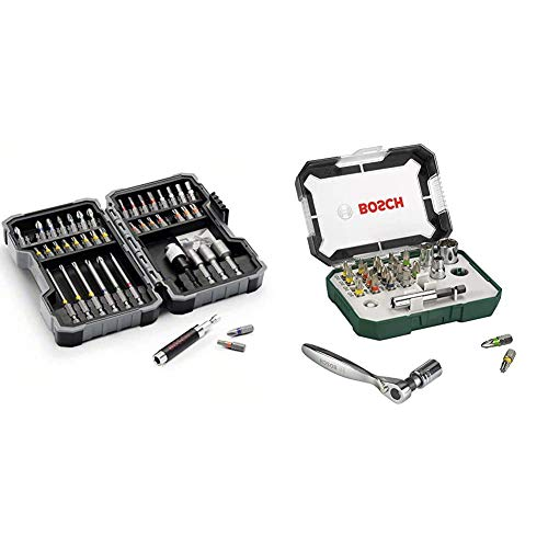 Bosch - Set of 43 units for screwing and socket wrenches + 2607017322 Screwdriver bits + ratchet (set of 26)