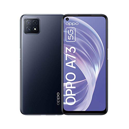 """OPPO A73 - 6.5 Smartphone"""", 5G, AMOLED, 8GB + 128GB, Triple Camera with AI, 18W fast charge, 4040mAh, Dual Sim Android 10, Black"""