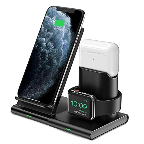 Seneo Fast Wireless Charger - 7.5 W 3-in-1 Household Charger for iPhone 8 to iPhone 11 Pro, Wireless Charging Stand for Apple Watch and AirPods Pro
