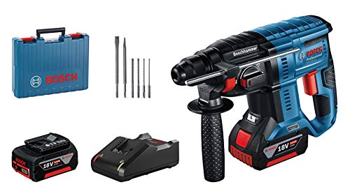 Bosch Professional 18V System GBH 18V-21 Rotary Hammer, Turning speed 0-1800 min-1.2 GBA 18V 5.0 Ah batteries + GAL 18V-40 charger, 6-piece drill and chisel set, - Amazon Edition