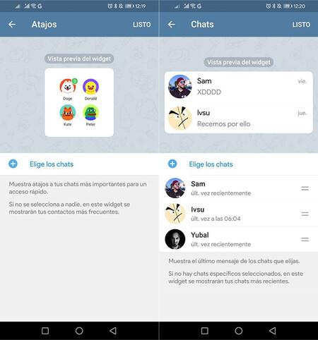 Telegram widget