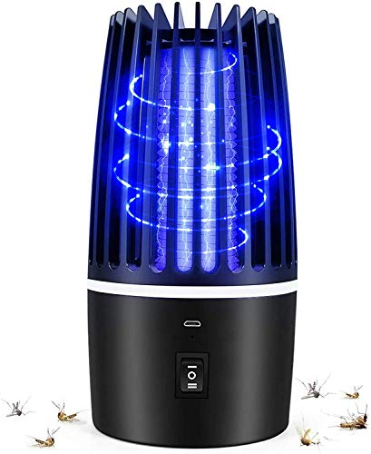 Flagicon Electric Anti-Mosquito Lamp, USB Rechargeable Bug Zapper 2 in 1 Portable LED Camping Lantern Light UV LED Insect Trap, Kill Mosquitoes, Flies, Moths, for Home, Camping