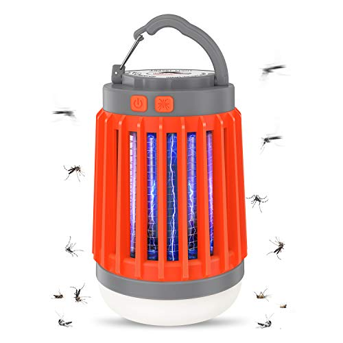 Aerb 3 in 1 Electric Anti-Mosquito Flashlight, Camping Anti-Mosquito Lamp with 5 Brightness Modes, USB Rechargeable and IP67 Waterproof, UV Mosquito Killer Light, Ideal for Camping Carrying