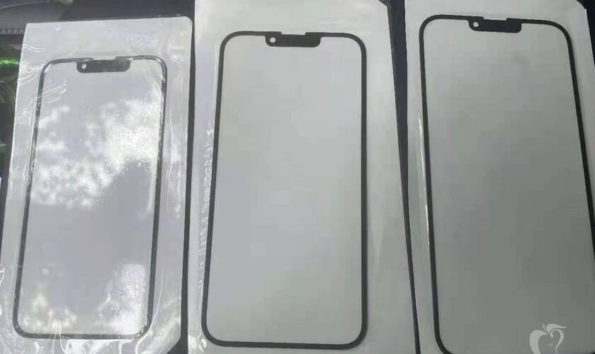 A supposed glass of the iPhone 13 appears with a