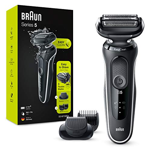 Braun Series 5 50-W1500s Electric Shaver, Foil Man Beard Shaver, with Beard Trimmer, Wet and Dry Use, Rechargeable, Cordless, White