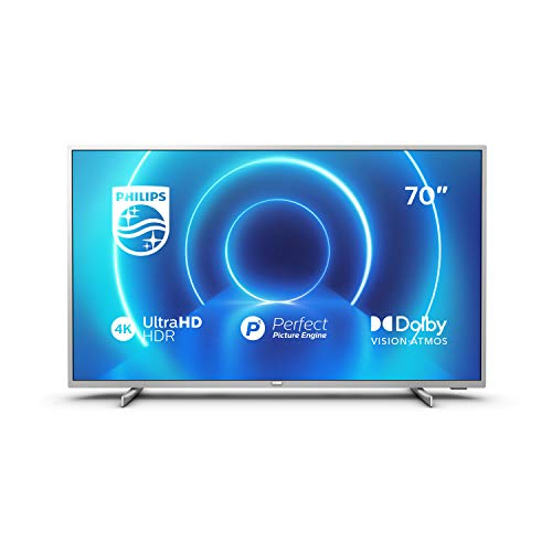 Philips 70PUS7555 / 12 178 cm (70 Inch) 4K UHD TV (4K UHD, P5 Picture Engine, Dolby Vision, Dolby Atmos, HDR 10+, Saphi Smart TV, HDMI, USB), Silver (2020/2021 Model)