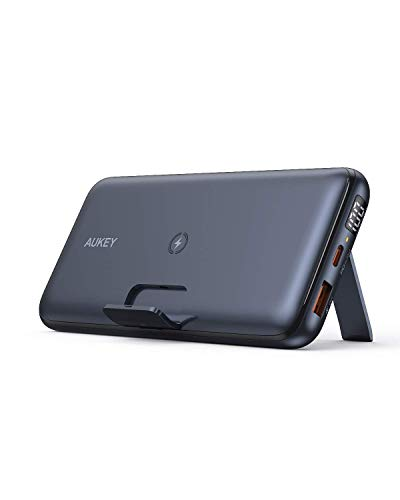 AUKEY USB C External Battery, 20000 mAh Wireless Portable Charger with Foldable Stand, 18 W Power Supply and Quick Charge 3.0 for iPhone 12/12 Pro.