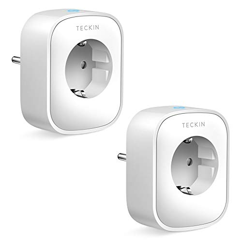 TECKIN Smart Socket, 16A 3680W WiFi Socket With Power Monitor, Compatible with Alexa & Google Home, Socket with Remote Control and Timer Function, Smart Sockets 2 Packs