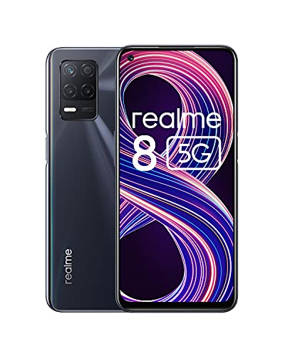 realme 8 5G Smartphone Free, Dimensity 700 5G Processor, 90Hz Ultra Smooth Screen, 5000m Massive Battery, 48MP Camera and Night Mode, Dual Sim, NFC, 4 + 64GB, Black