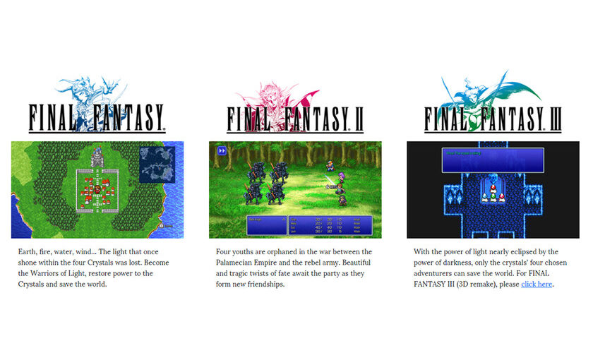 1627644674 The first three Final Fantasy Pixel Remaster are now available
