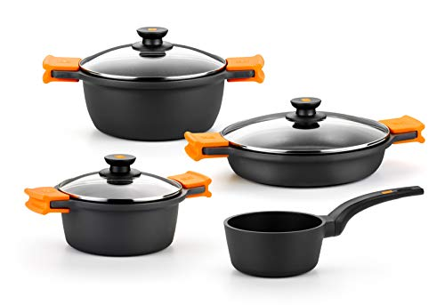 BRA Efficient - 4-piece cast aluminum cookware with non-stick, suitable for all types of cookers, including induction [Amazon Exclusive]