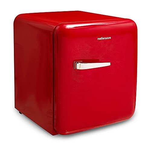 Mellerware Mini refrigerador eléctrico Freezy! Mini nevera 48 L eficiencia energética A+ Frigorífico pequeño 50 cm alto Apertura derecha Compartimento latas y botellas (Rojo)