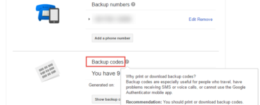 How do I get my backup code for 2-step verification?