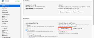 How do I manually backup my iPhone to my computer?