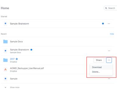 How do I put files into Dropbox?