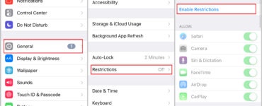 How do you delete iPhone restrictions history?