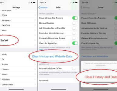 How do you delete your history on Safari?
